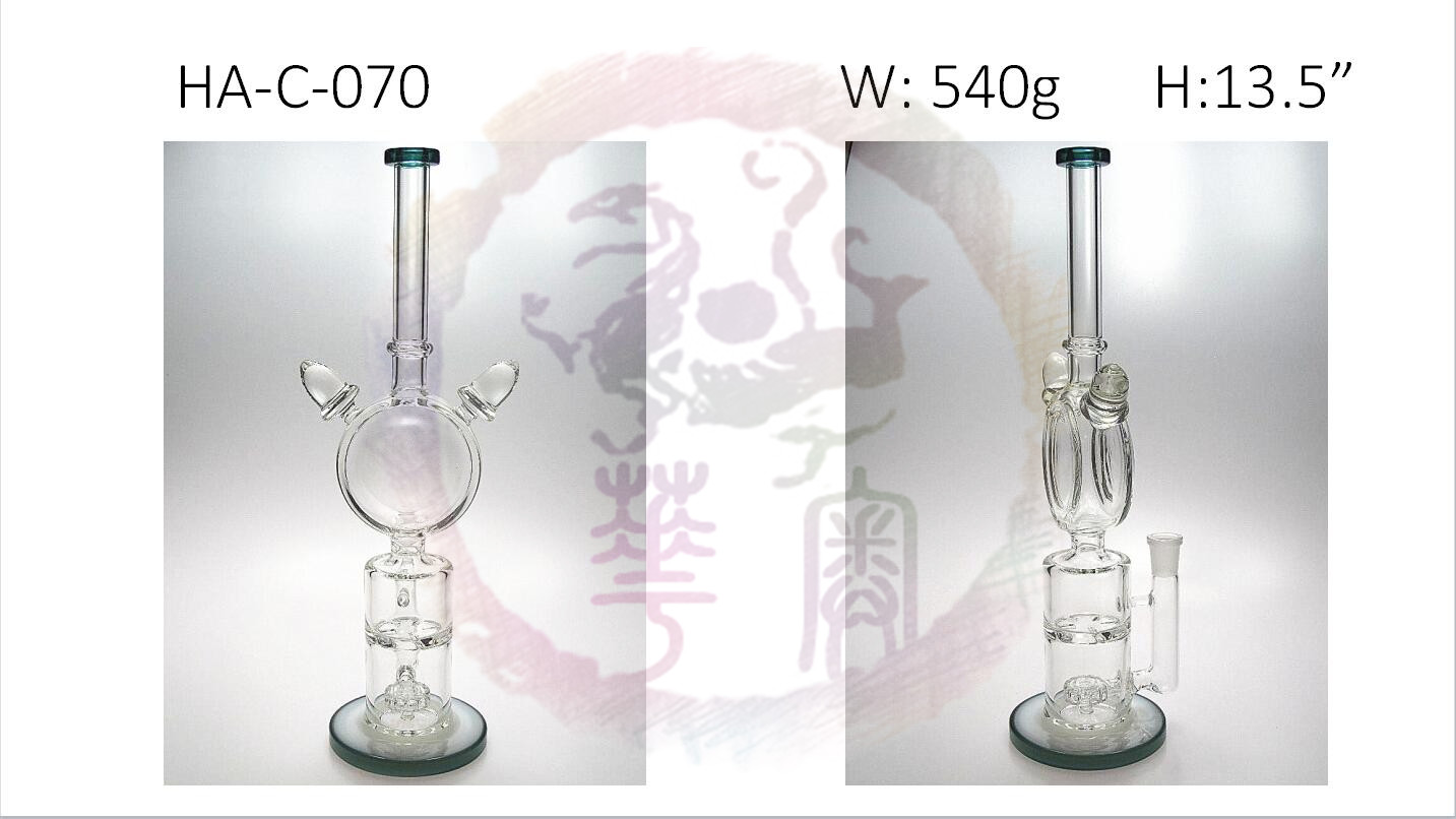 "13.5"" Glass Bong Water pipe straight nick Double percs for weed smoking wax dabbing"