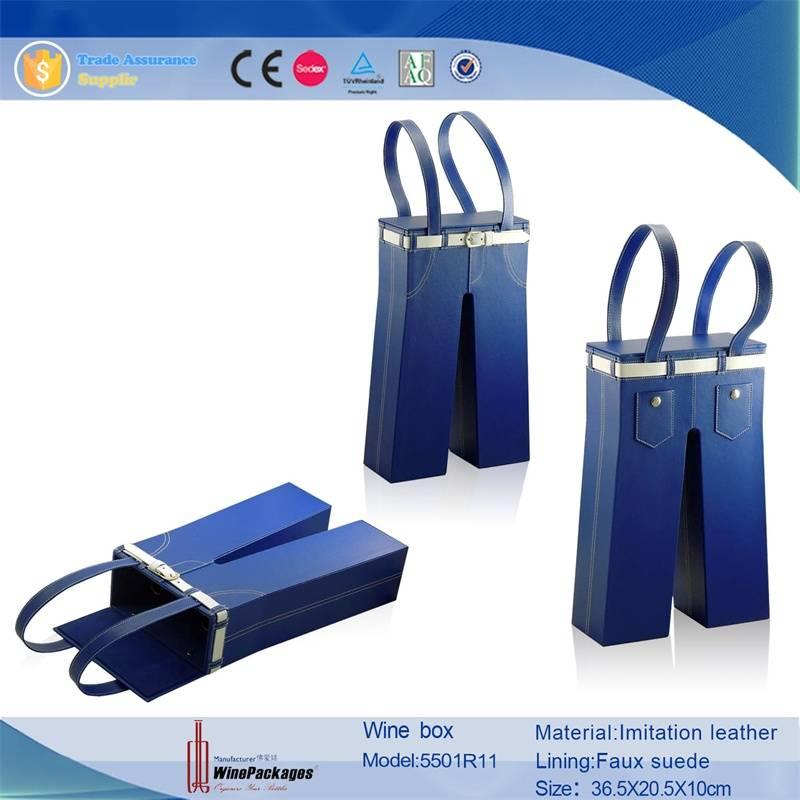 China Supplier Pants Liked wine tote leather wine box for Two Bottle Leather Paper Wine Box