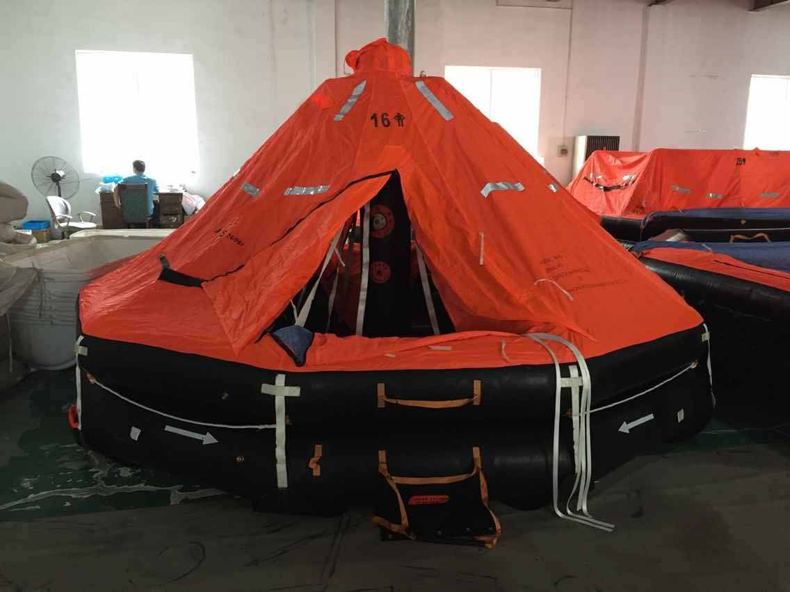 Marine davit launched inflatable life raft