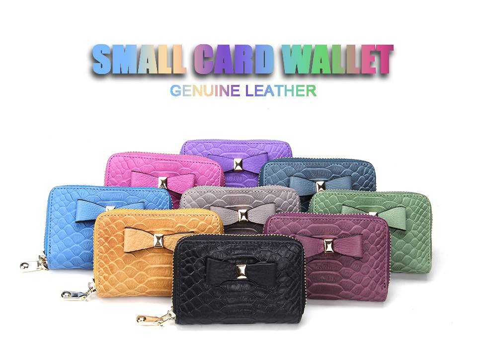 Womens Zip Around Genuine Leather Credit Card Holder case Wallet Organizer Coin Purse snake pattern