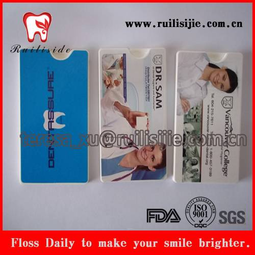 Oral Hygiene Care Dental Product Credit Card Shape Dental Floss, Dental Card Shape Floss with OEM Lo