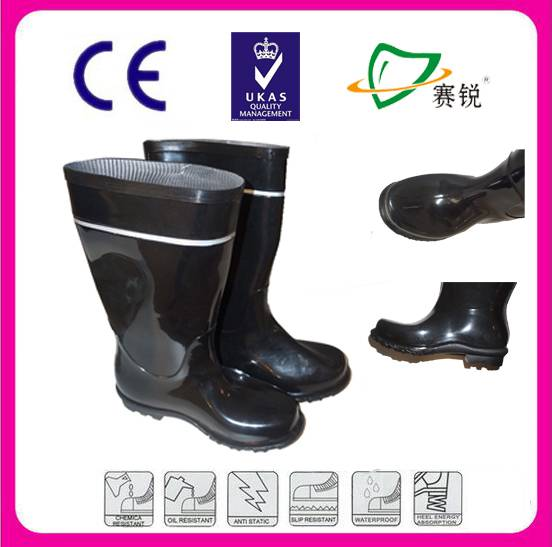 CE starded heavy duty PVC safety working boots with reflective stripe