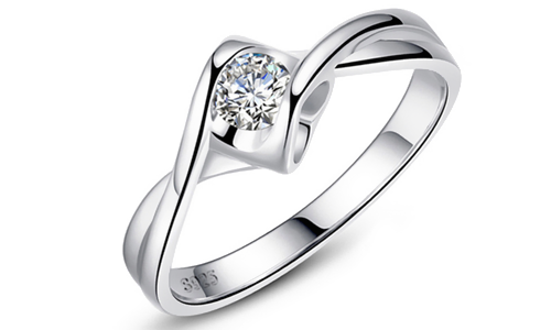 Hollow Out Heart Shape Wedding Sliver Ring