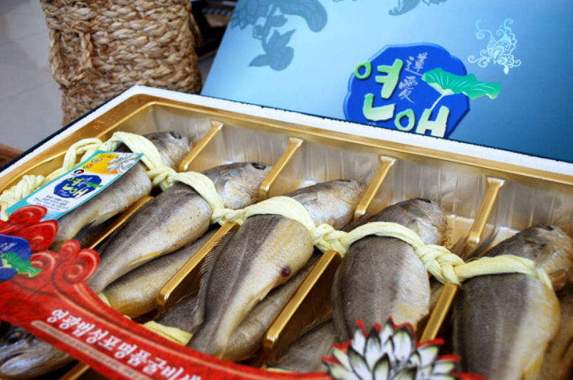 Dried Yellow corvina with Lotus leaf from Korea