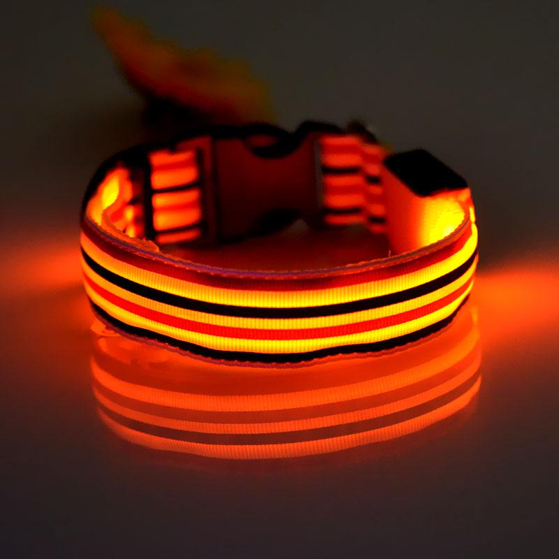 Sublimation logo printing dog collar LED flashing dog collar factory pet products