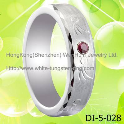 Ruby Inlay White Tungsten Ring for Wedding