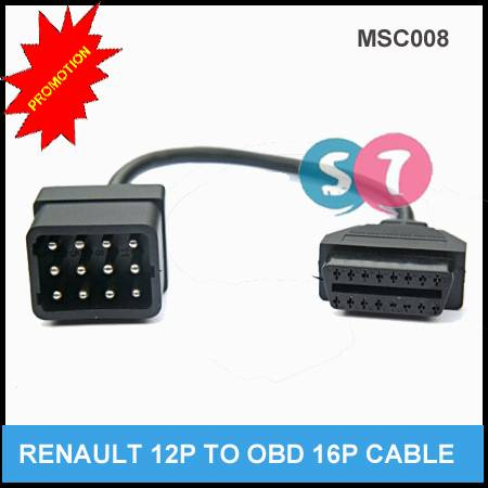 Renault 12Pin OBDII Diagnostic Cable Connector