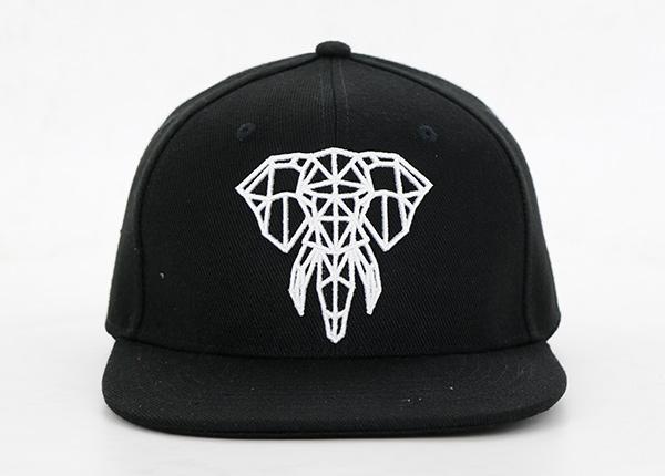 Black 6 Panel Embroidered Snapback Custom Embroidered Snapback Hats