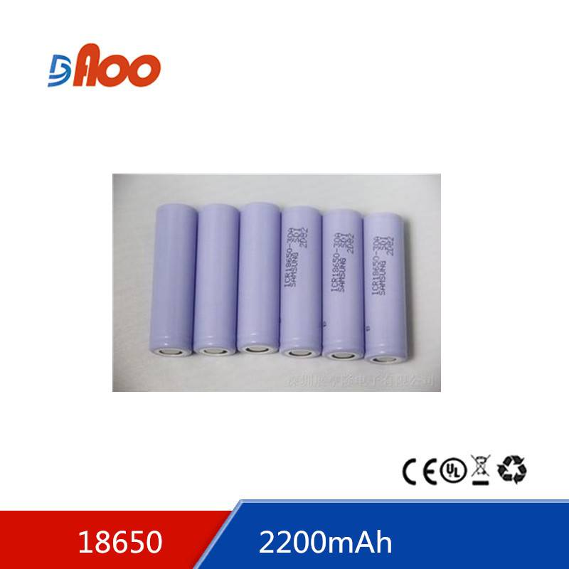 High quality  Li-ion 18650 battery pack 3.7V 2200mAh rechargeable batter