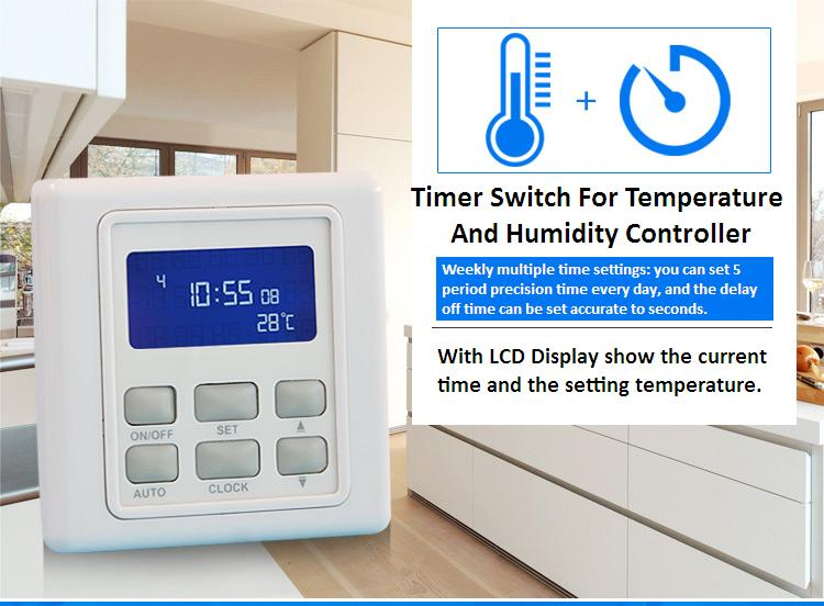 Temperature Control Switch with Weekly Multiple Period Settings Temperature Sensor Heating control