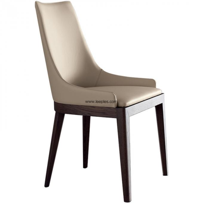 Modern restaurant furniture PU upholsted dining chair with solid wood legs