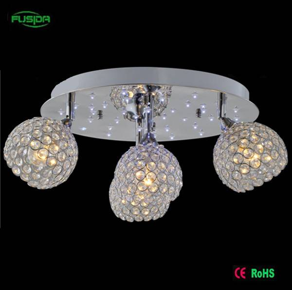 Crystal ceiling lighting led crystal chandelier light with 6 lampshades