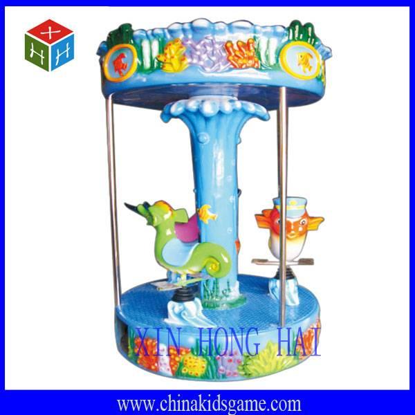 Amusement park merry go around, three kids carousel