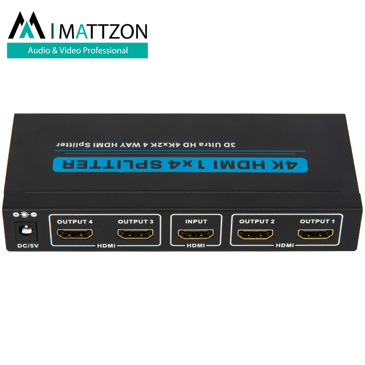 Mattzon 1x4 3D 4K@30hz hdmi splitter support 10.2Gbps, HDCP1.4, HDR support, EDID