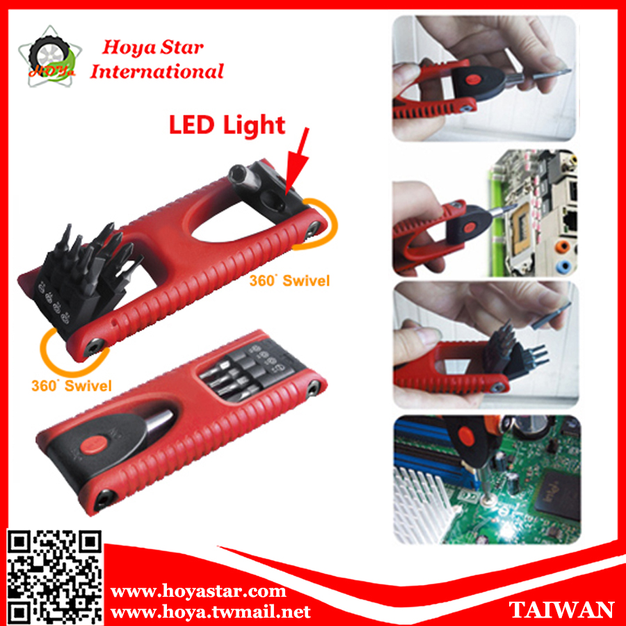 8PCS Precision Screwdriver with LED Light, Multi tool, Bit Set, Angle Screwdriver with LED