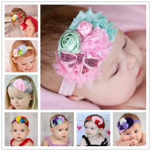 The new Europe and US style children's wholesale hair band Rose buds sequined bow elastic baby head
