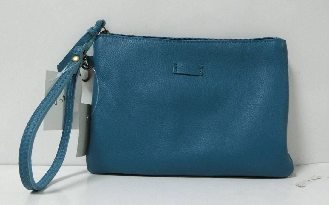 Lake blue leather hand bag purse