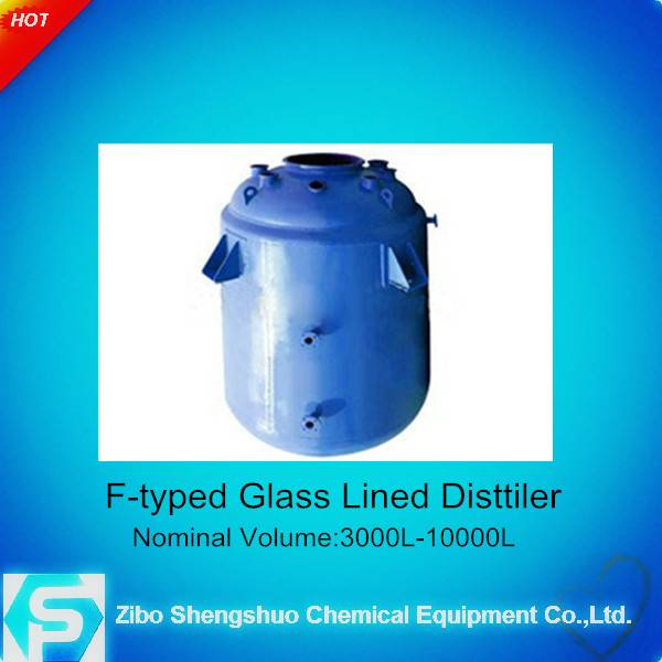 glass lined distillater with tower section for chemical industry (industrial enamel distill equipmen