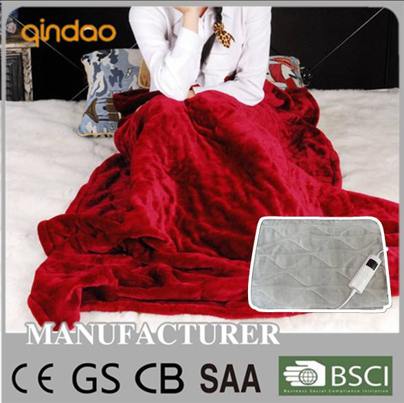 CE home use electric heated throw with timer