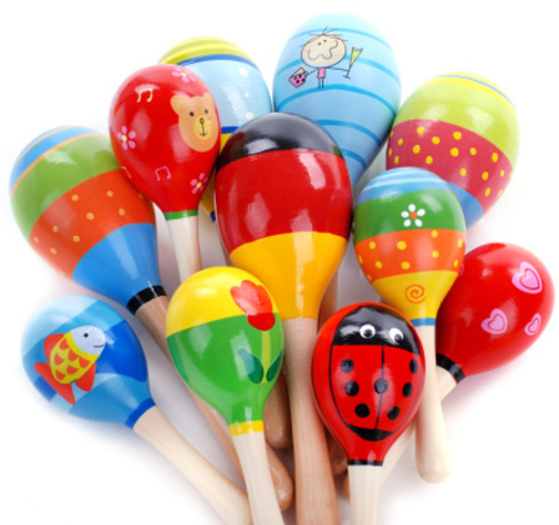 Colorful Wooden Maraca Baby Kids Musical Instrument Rattle Shaker Party Wooden Toy
