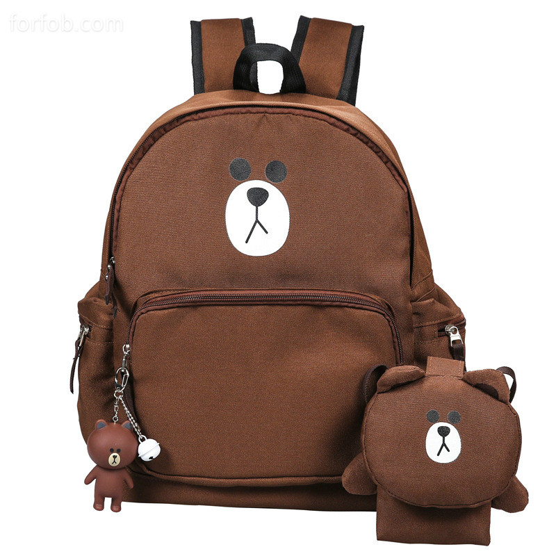 Casual Backpack School Outdoor Travel Bag Large Capacity Bear Style
