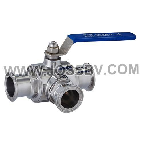 Three-Way Sanitary T-Clamp Direct Mount Ball Valve