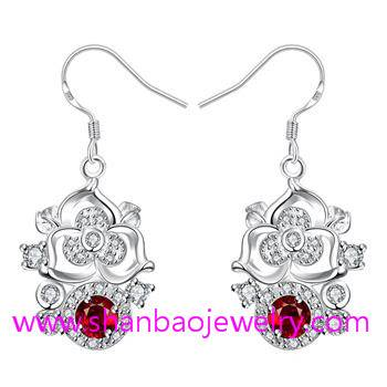 Shanbao Jewelry Imitation Silver Plated Costume Fashion Zircon Jewelry Earrings