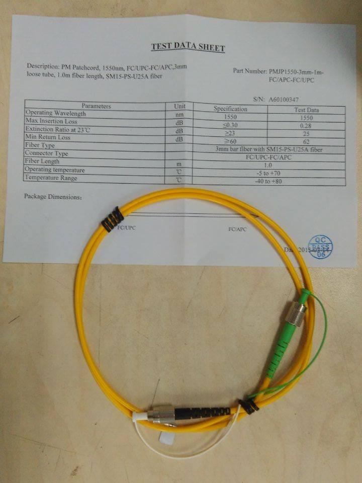 Polarization Maintaining Fiber Patchcord
