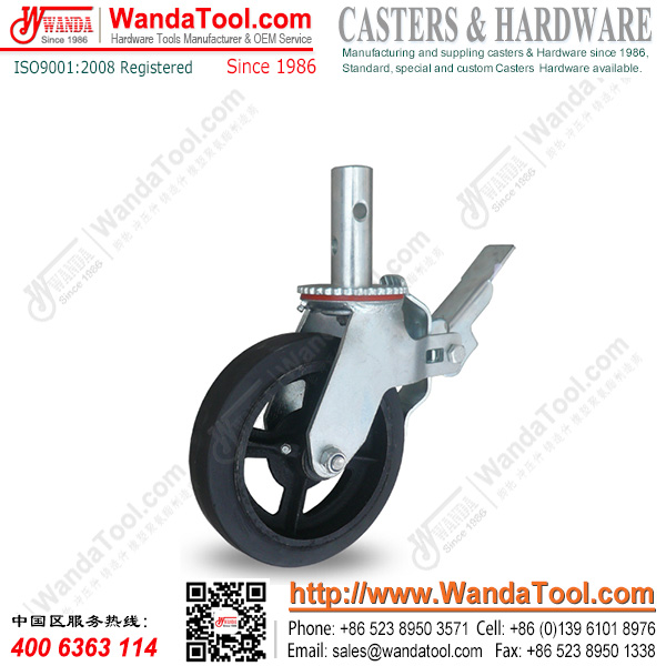 8 In. Standard Scaffolding Caster with Moldon rubbehr wheel