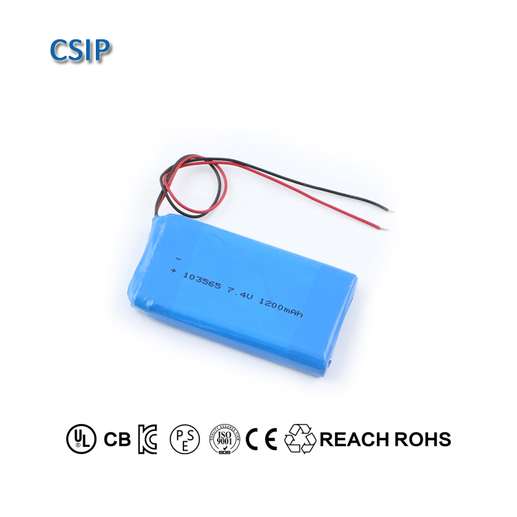 LiPo batteries 7.4v 103565 1200mah rechargeable lithium polymer battery pack for drones
