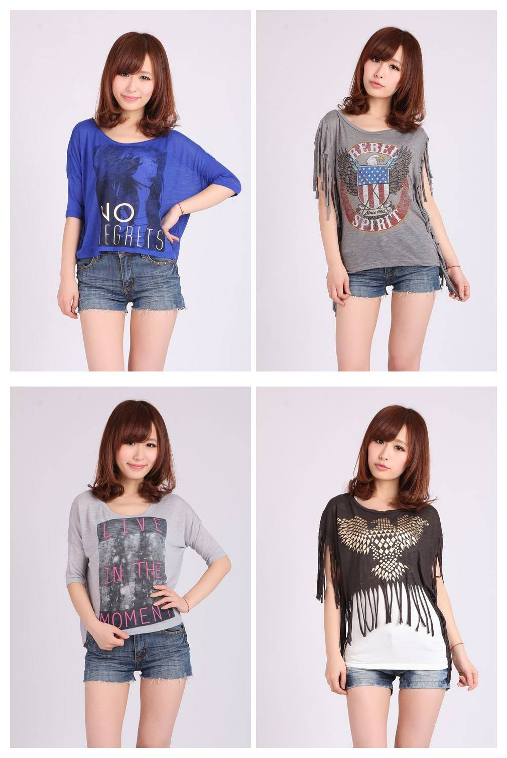 Women's short sleeves T shirts summer clothing in stock