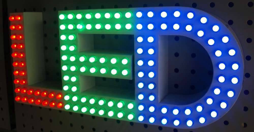LED bulb lights signs custom logo letter 3D illuminated channel lettering advertising display