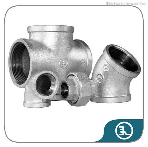 Malleable cast iron liner plastic fittings