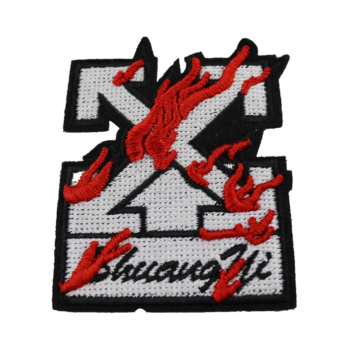 3D Red colorway embroideries iron custom decoration patch