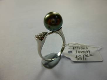 Natural Tahitian Black Pearl 10mm Silver Ring in Micro Setting