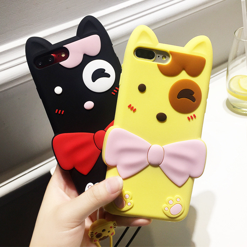 Latest Girl Cat Bowknot Shockproof Silicone Phone Accessories Case for iPhone 8/7/6s Plus Soft Shell