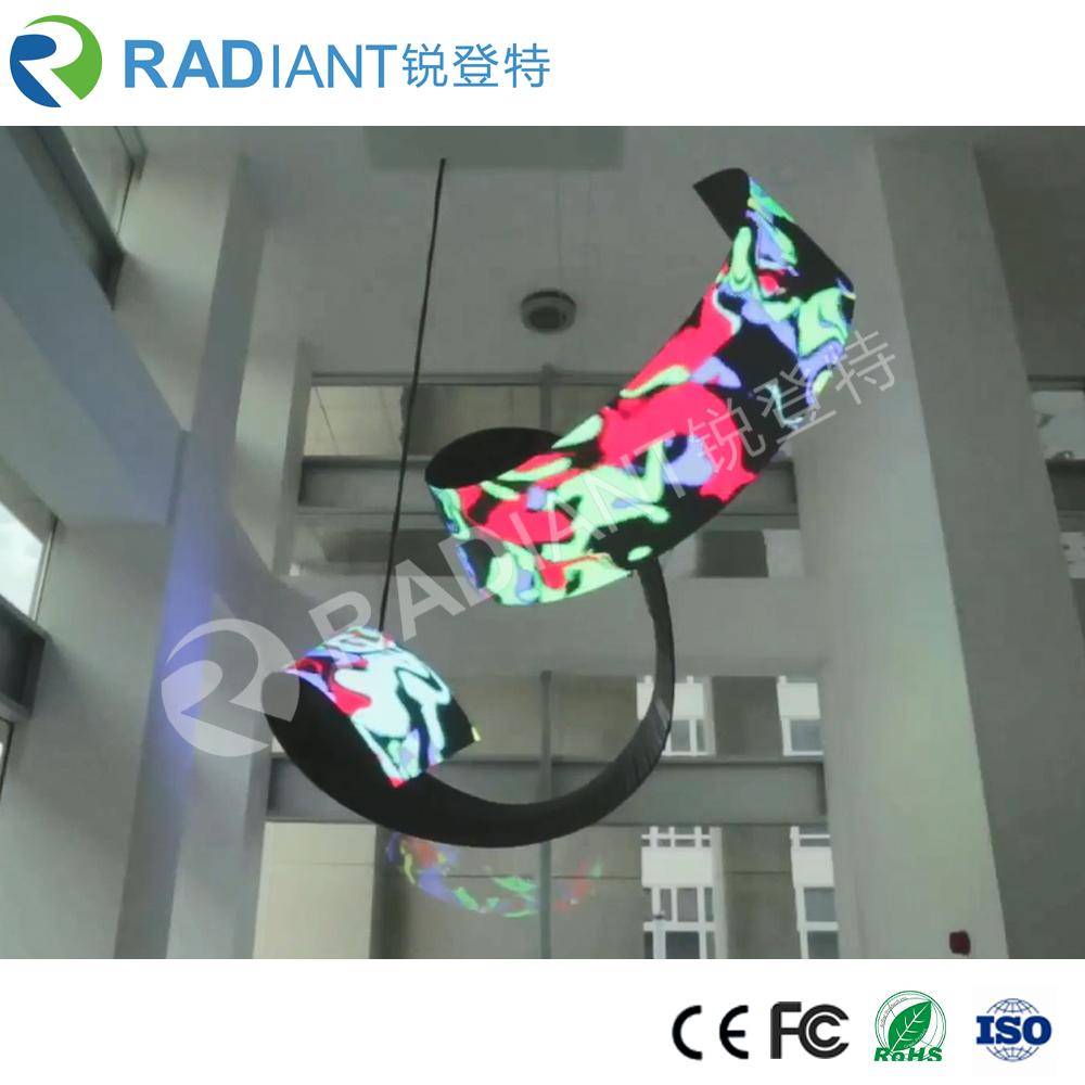 Radiant curved waved shaped soft full color HD flexible P6 indoor LED display price