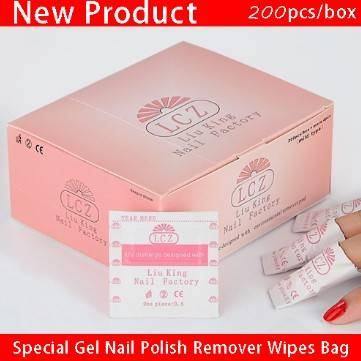 Professional nail supplier Nail tools special simple gel nail polish remover wipes bag (200pcs/box)