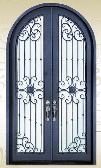 Wrought iron and glass door parts iron art security door(JDL-1012)
