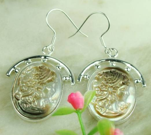 925 Sterling Silver Natural carved shell Gemstone earrings