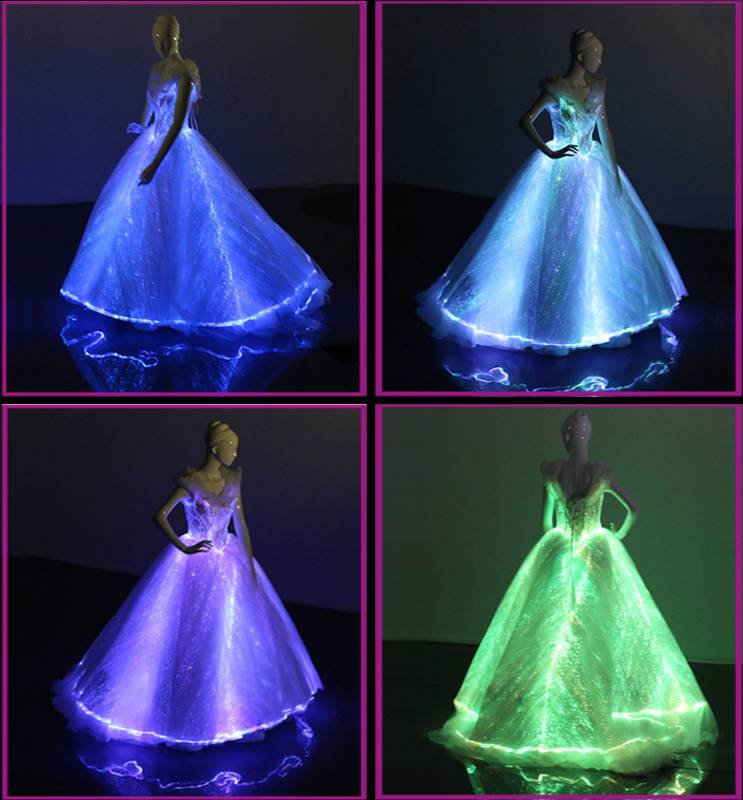 The luminous light up glowing optic fiber evening dress ball gown
