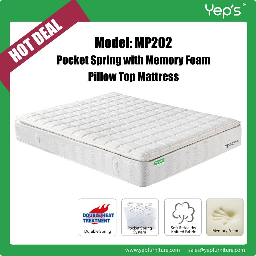 Comfortable Pocket Spring with Memory Foam Pillow Top Mattress