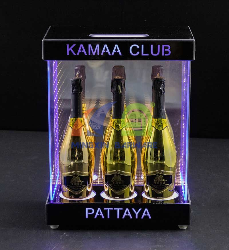Three Bottle Bottle Cabinet with Infinity MirrorLED Champagne Cabinet Display