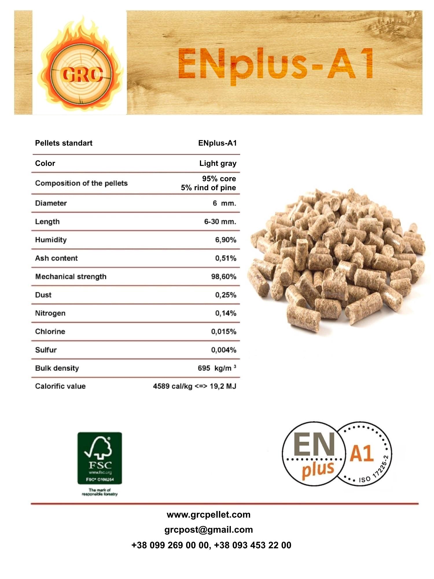 Wood pellets ENplus-A1, Ash-0,51%, 108 EUR