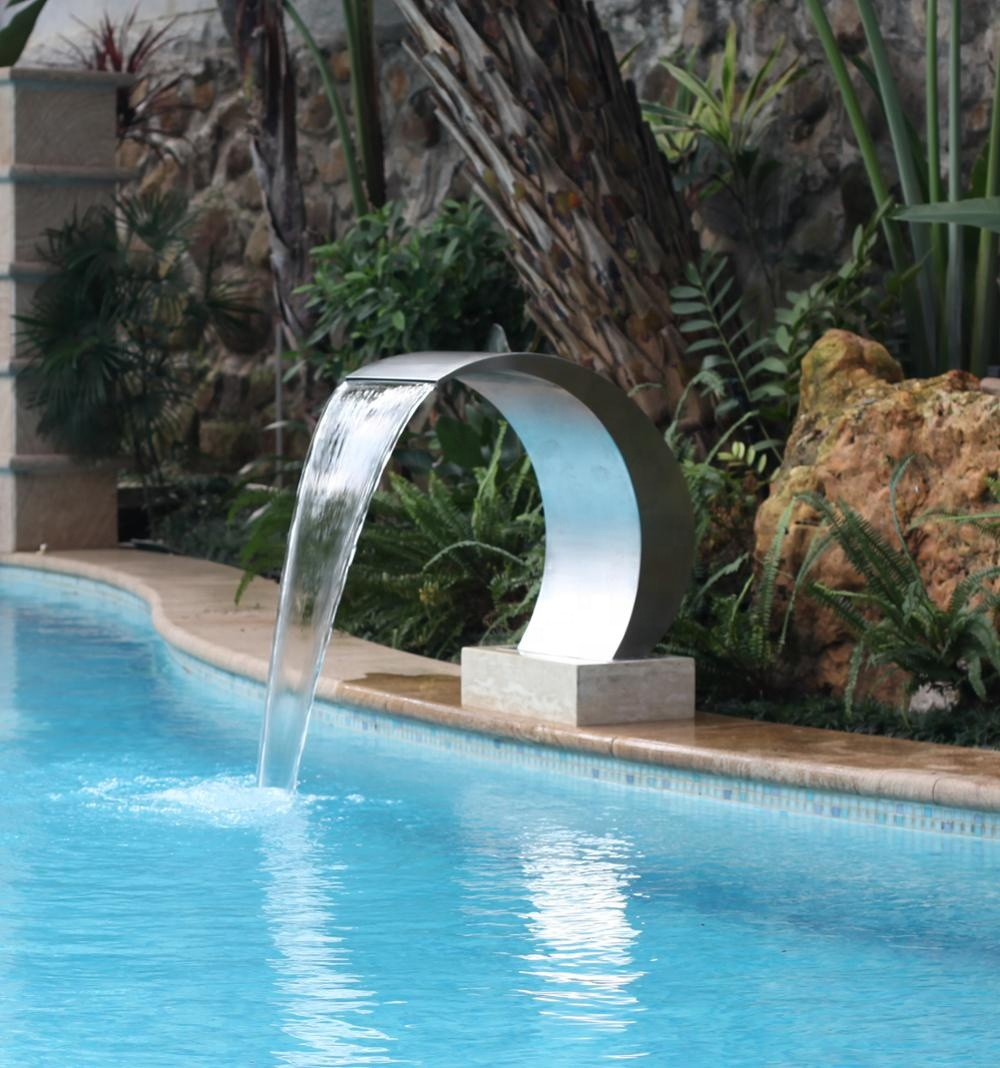 Swimming Pool Cascade Stainless Steel Water Curtain Waterfall Fountain