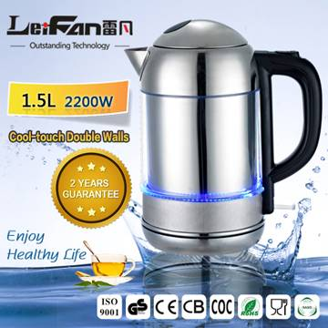 cool touch double wall water kettle with LED light