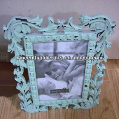 Antique distressed craft carve wood photo frame