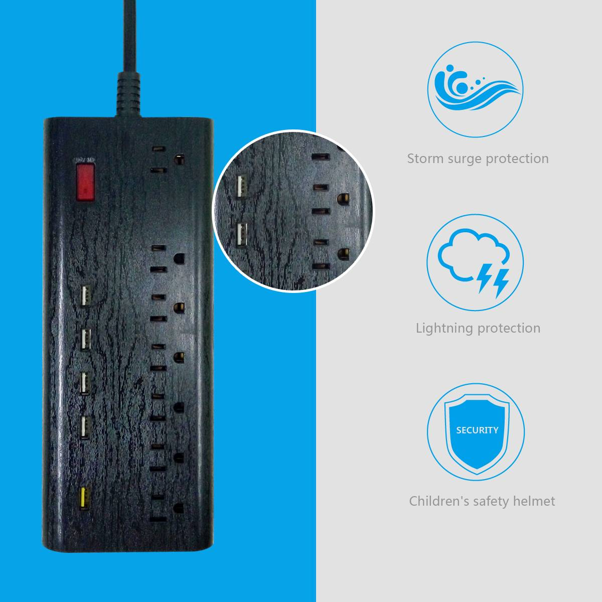 US type multiple outlet extension cord 7 outlet with usb port surge protection