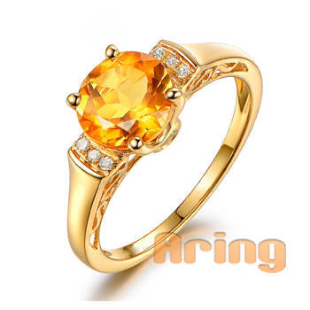 Wholesale 18k Gold Jewelry Diamond Citrine Rings solid gold jewelry