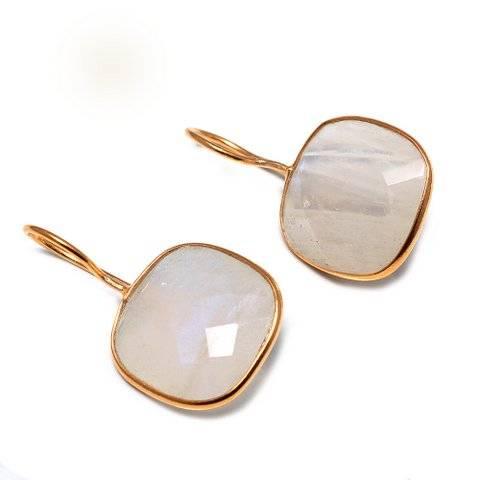 925 sterling silver Moonstone Gemstone Earring-Vermeil Gold